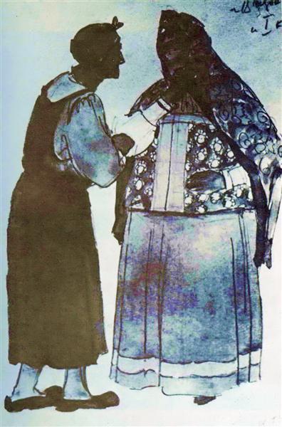 "Sketch for Glinka's opera ""Ivan Susanin"". Old woman in the house Susanin, 1944 - Константин Юон"