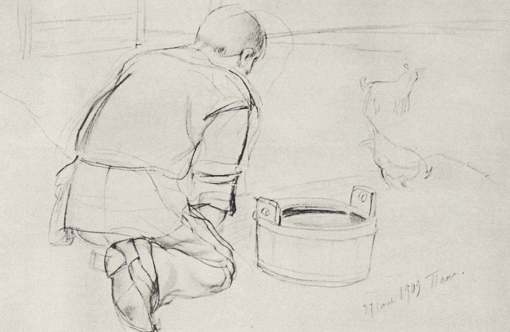 Фигура С.Ф.Петрова-Водкина, отца художника, на коленях со спины ...