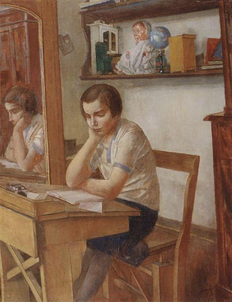 The girl at the desk, 1934 - Kuzma Petrov-Vodkin