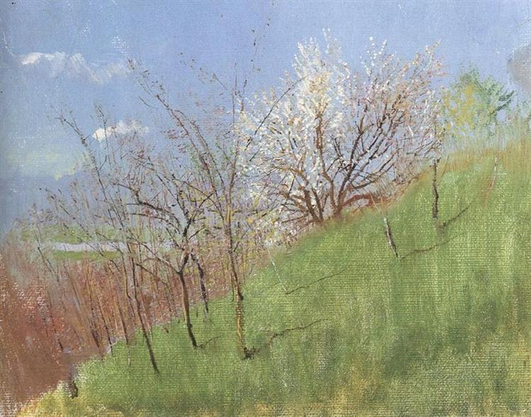 Hildside at Springtime (Little Landscape), 1904 - Laszlo Mednyanszky