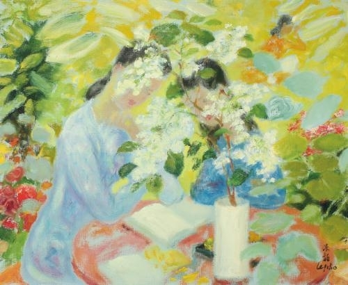 Reading In The Garden Le Pho