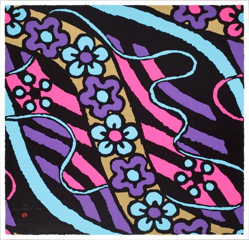 Färgkomposition med blommor, 1996