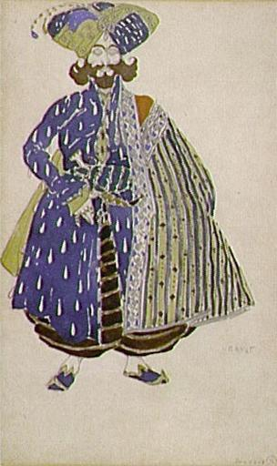 Aide de camp of the Shah, costume design for Diaghilev's production of the ballet Scheherazade, 1910 - Leon Bakst