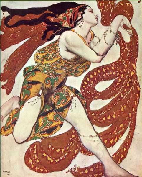 Costume design for a bacchante in 'Narcisse' by Tcherepnin, 1911 - Leon Bakst