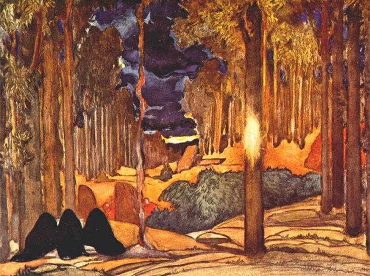 Le martyre de Saint Sebastien act IV set design, 1911 - Leon Bakst