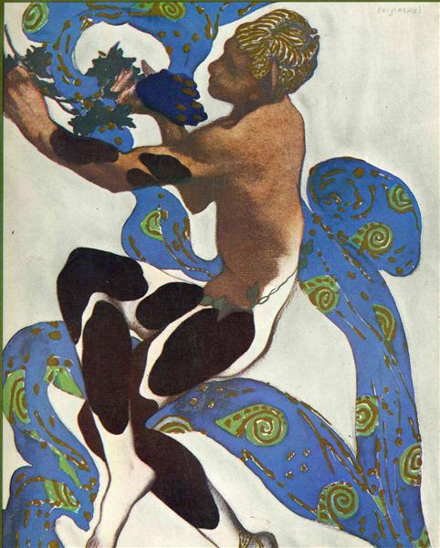 Nijinsky's Faun Costume in 'L'Apres Midi d'un Faune' by Claude Debussy  from the front cover of the programme for the 7th season of the 'Ballets Russes', 1912 - Leon Bakst