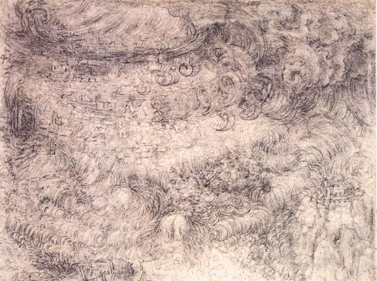 Deluge over a city, c.1517 - Leonardo da Vinci
