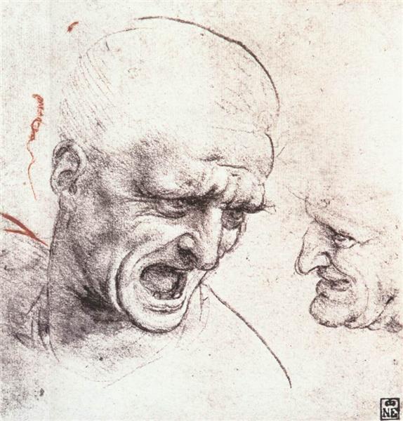 Studies for the heads of two soldiers in 'The Battle of Anghiari', c.1505 - Leonardo da Vinci
