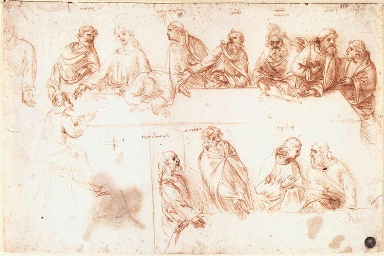 Study for the Last Supper, c.1494 - Leonardo da Vinci