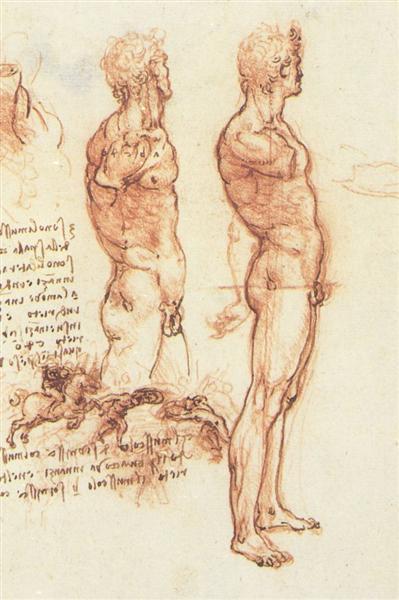 The anatomy of a male nude and a battle scene, c.1505 - Leonardo da Vinci