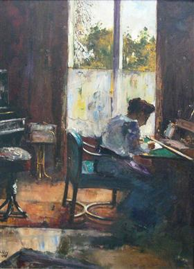 Woman at writing desk - Lesser Ury