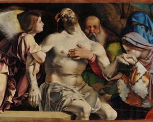 Altar of Recanati polyptych, crowning the main board: Angel Pietà - Lorenzo Lotto