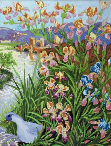 BLUE TUFTED BIRD AND BEARDED IRISES - Louis Wain