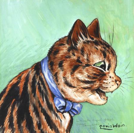 CAT WEARING A BOW - Louis Wain