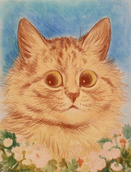GINGER FLOWER CAT - Louis Wain