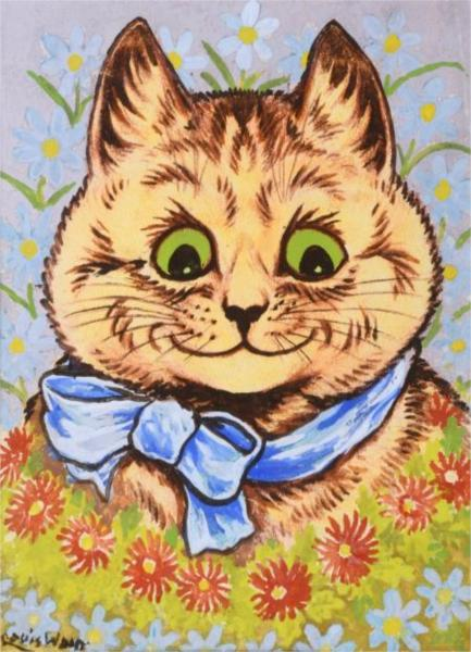 HAPPY FLOWER CAT - Louis Wain