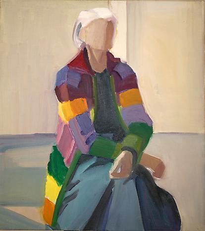 Self Portrait in Long Striped Sweater, 1990 - Louisa Matthiasdottir
