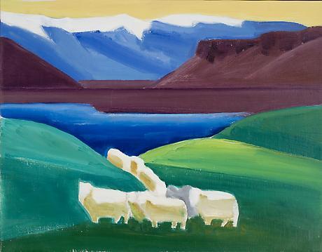 Sheep Walking Through Valley, 1990 - Louisa Matthiasdottir