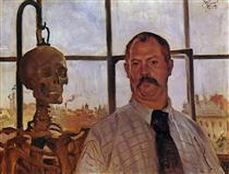 Self-portrait with Skeleton - Lovis Corinth