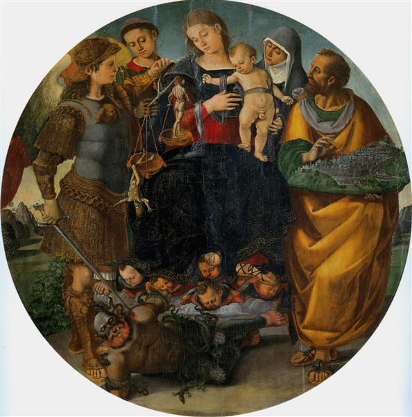Virgin and Child with Sts Michael, Vincent of Saragozza, Margaret of Cortona and Mark - Luca Signorelli