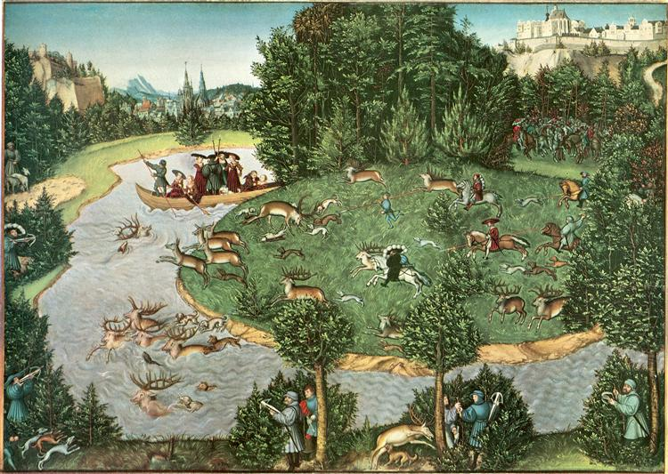 Stag Hunt of Elector Friedrich III the Wise, 1529 - Lucas Cranach l'Ancien
