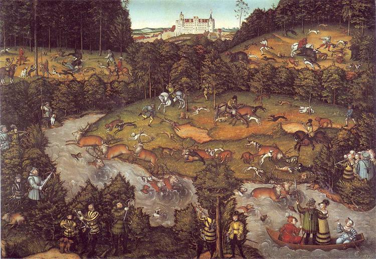 The deer hunting, 1540 - Lucas Cranach der Ältere