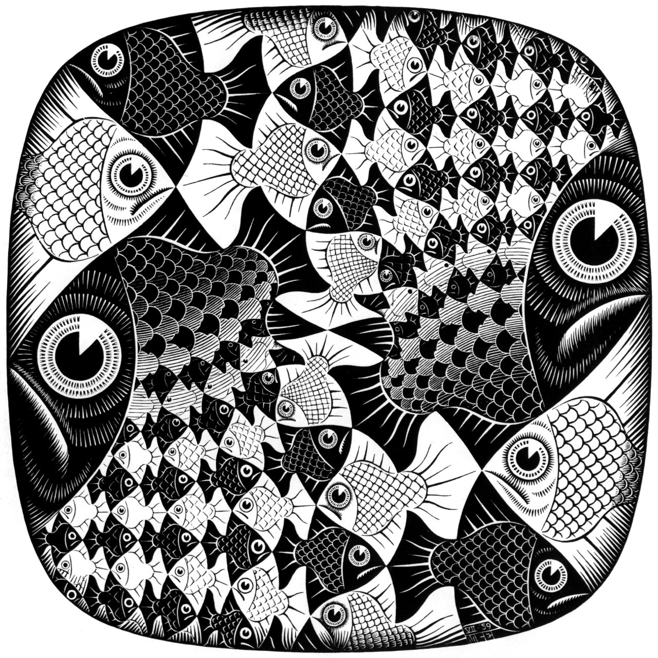 Fishes and Scales - M.C. Escher - WikiArt.org - encyclopedia of visual ...: www.wikiart.org/en/m-c-escher/fishes-and-scales