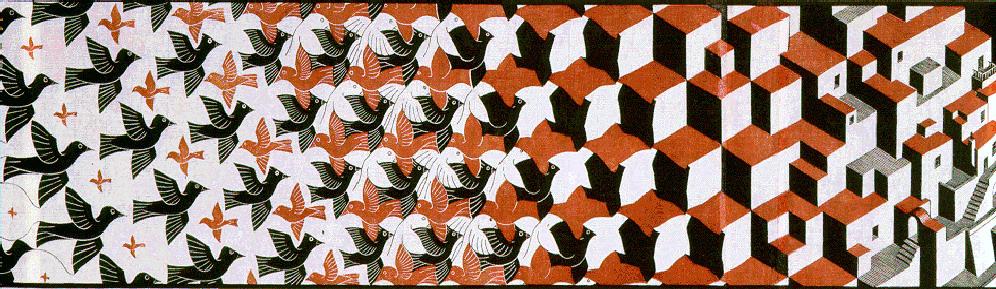 Metamorphosis ii excerpt 5 1939 m c escher for Escher metamorfosi