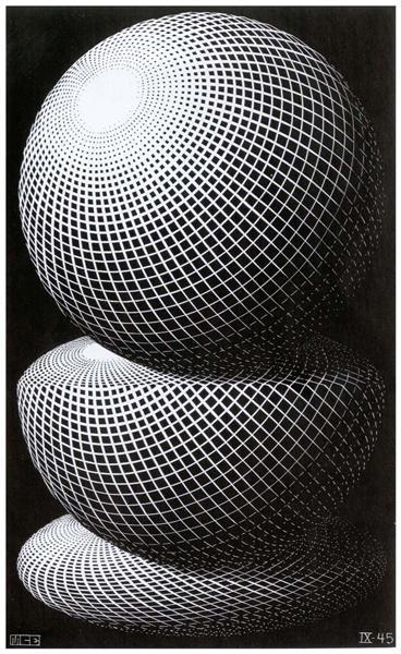 Three Spheres I, 1945 - M.C. Escher