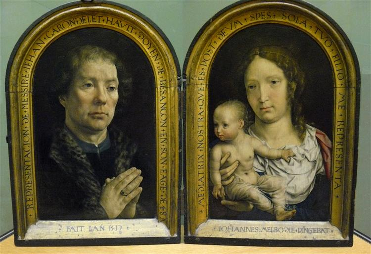 The Carondelet Diptych: Jean Carondelet (left panel), Virgin and Child (right panel), 1517 - Mabuse