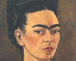 Self-Portrait in Red and Gold Dress - Frida Kahlo