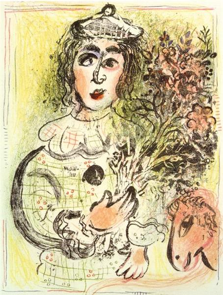 Clown with flowers, 1963 - Marc Chagall