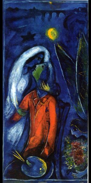 Lovers near Bridge, 1948 - Marc Chagall