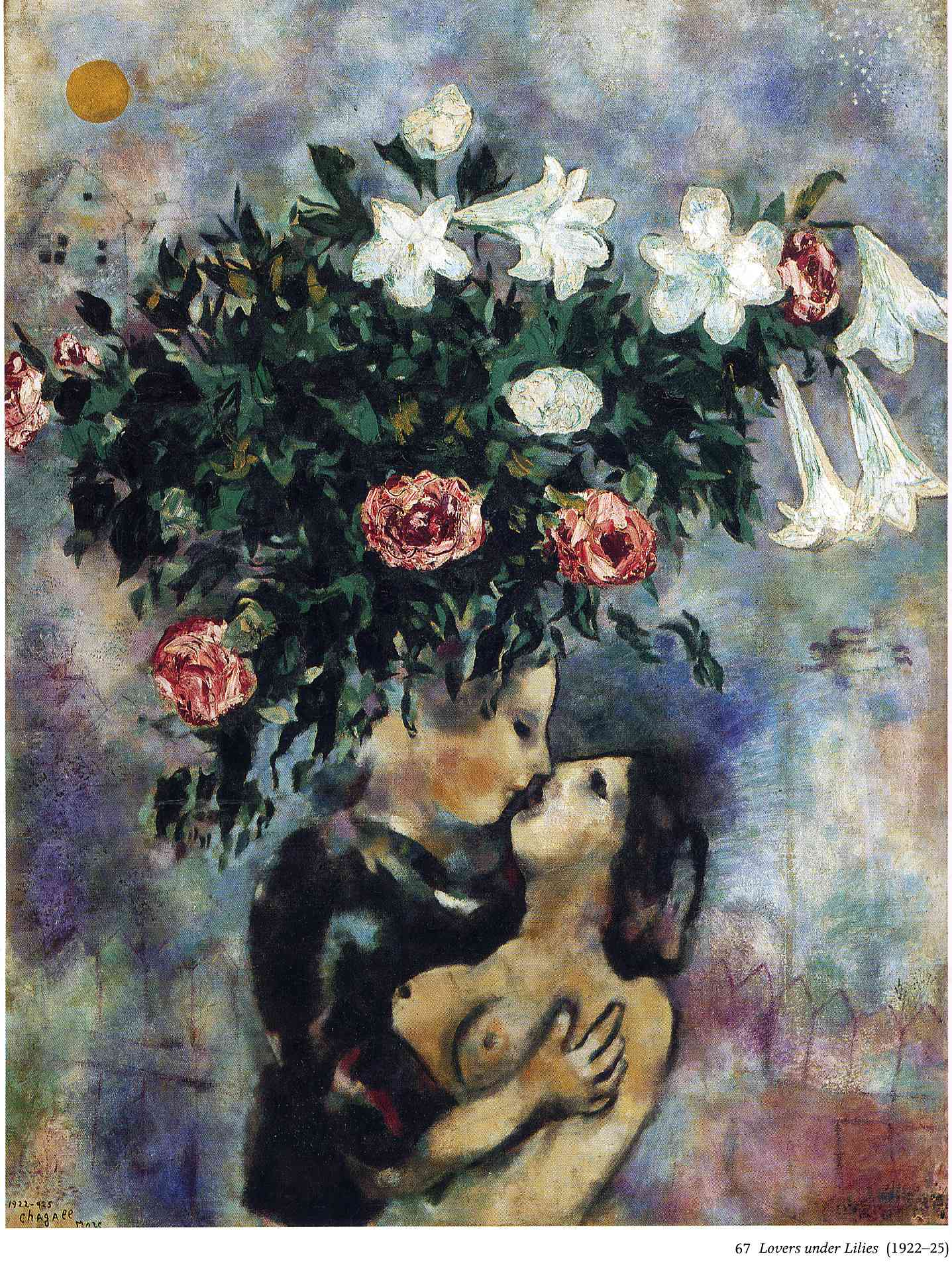 Lovers under lilies - Marc Chagall - WikiArt.org ... Chagall Afbeeldingen