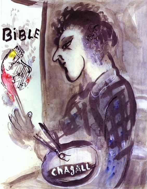 Self Portrait with a Palette, 1955 - Marc Chagall - WikiArt.org