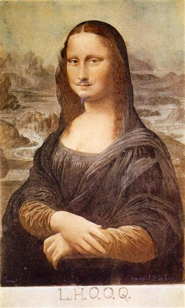 L.H.O.O.Q, Mona Lisa with moustache, 1919 - Marcel Duchamp