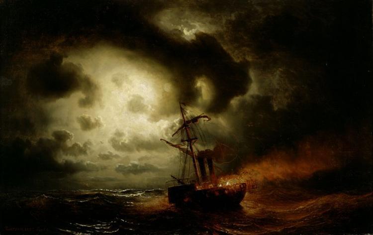 Burning Steamship, 1857 - Marcus Larson