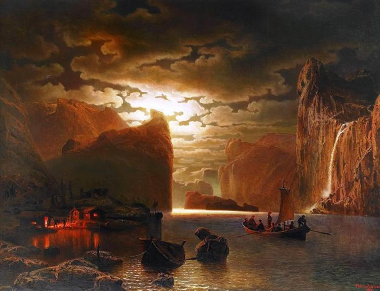 Fishing Near The Fjord By Moonlight - Marcus Larson