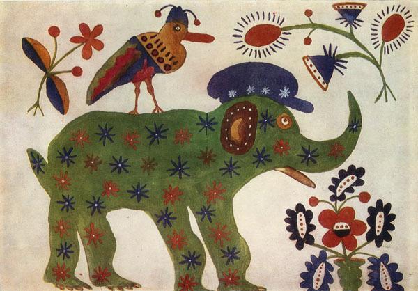 Green Elephant, 1936 - Maria Primachenko