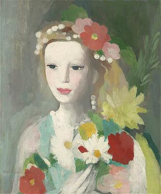 Jeune fille la guirlande de fleurs marie laurencin encycl - Guirlandes de fleurs ...