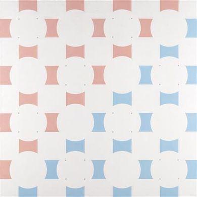 Induzione cromatica (bianco, rosato, azzurrato) e formale (stratificazione alternante dischi e quadri in primo piano), 1968 - Mario Ballocco
