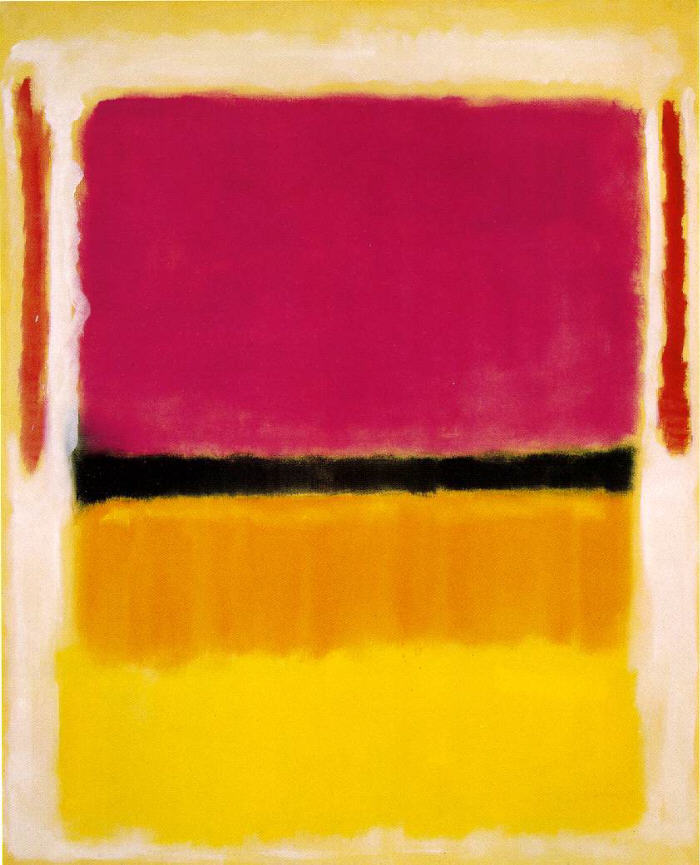 Violet, Black, Orange, Yellow on White and Red, 1949
