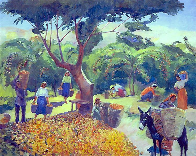 Gathering peaches in the collective farm in Armenia, 1938 - Martiros Sarian