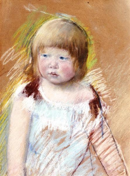Child with Bangs in a Blue Dress, c.1910 - Mary Cassatt