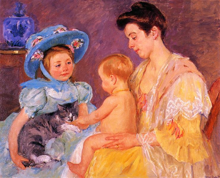 Children Playing with a Cat, 1908 - Mary Cassatt