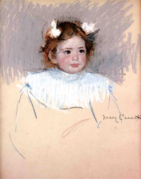 Ellen with Bows in Her Hair, Looking Right, c.1899 - Mary Cassatt