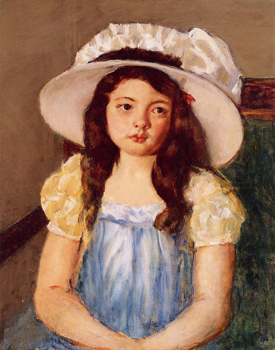 Francoise Wearing a Big White Hat, c.1908 - Mary Cassatt - WikiArt.org