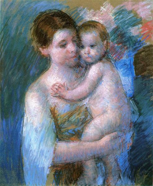 Mother Holding Her Baby, c.1914 - Mary Cassatt