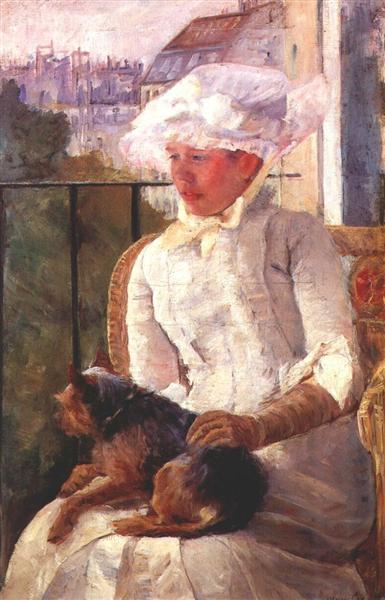 Susan on a balcony holding a dog, c.1883 - Mary Cassatt