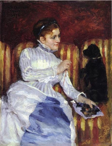 Woman on a Striped with a Dog (also known as Young Woman on a Striped Sofa with Her Dog), c.1875 - Mary Cassatt